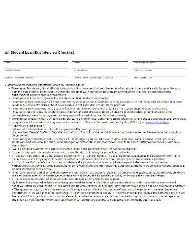 student loan exit interview checklist