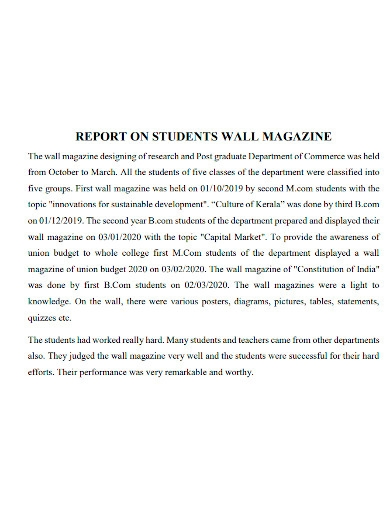 student magazine report