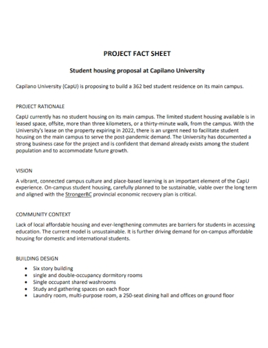 student project fact sheet