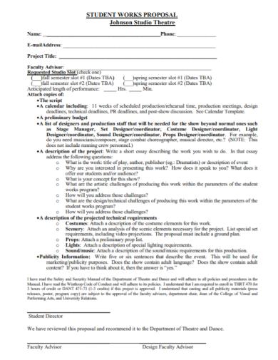 studio theatre student work proposal
