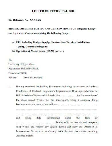 technical bid proposal letter