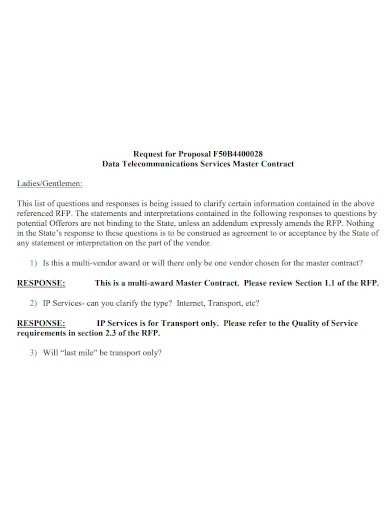 telecommunications request for proposal sample