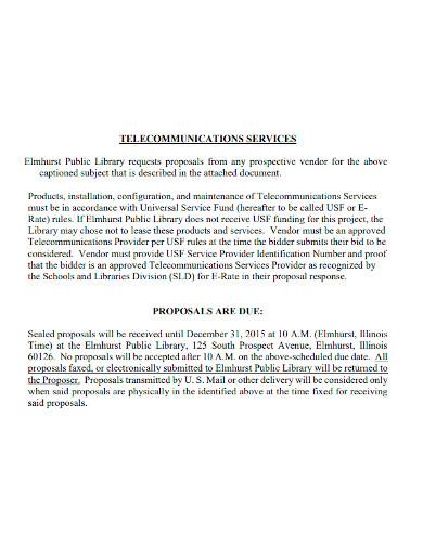 telecommunications services proposal