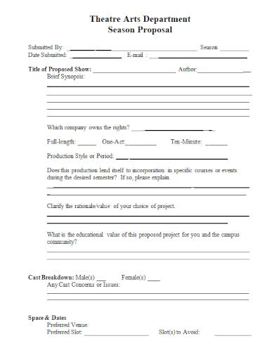theatre arts department season proposal