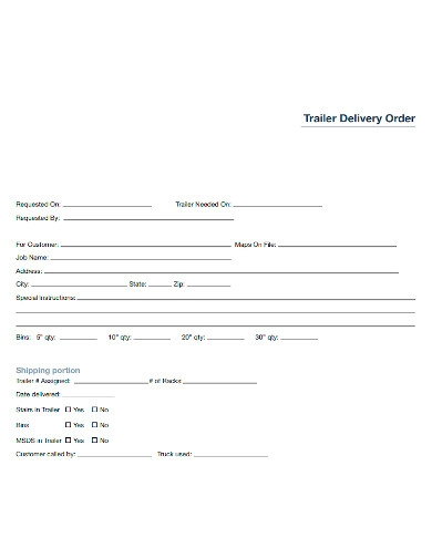 trailer delivery order