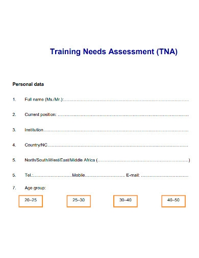 training needs group assessment form