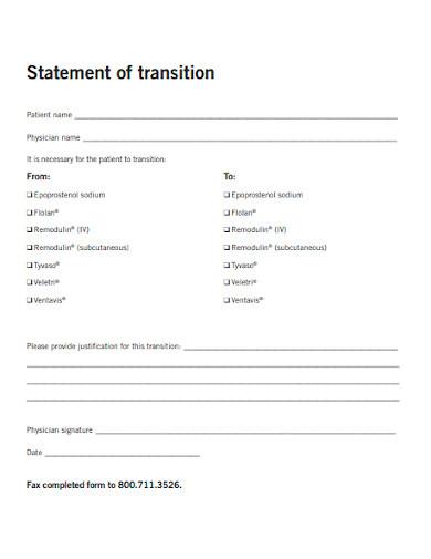transition statement sample