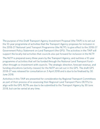 transport business investment proposal