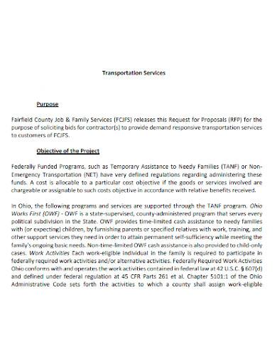 transport service proposal sample