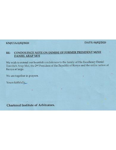 trustee condolence note