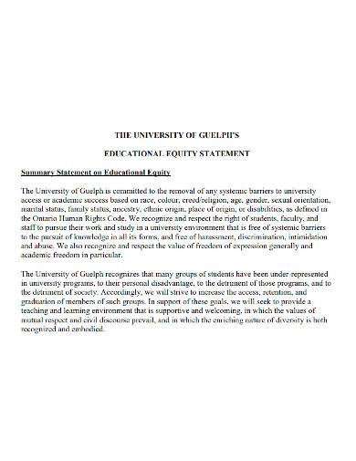 university educational equity statement