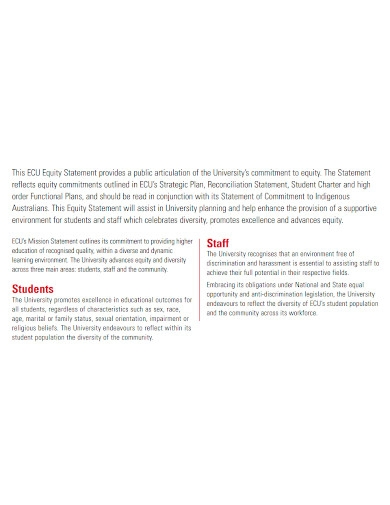 university equity statement on commitment