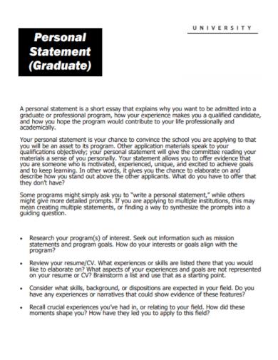 university graduate personal statement