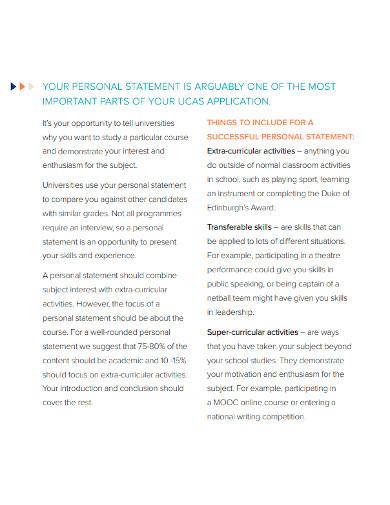 university personal statement format