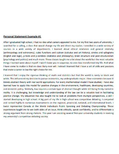 university personal statement sample