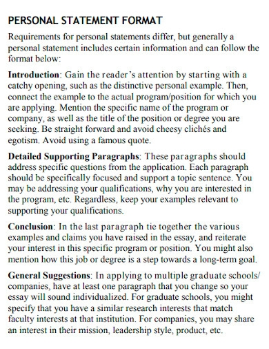 university personal statement for job
