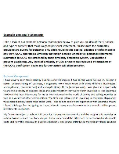 university personal statement of business