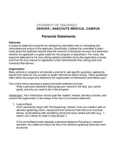 university personal statements