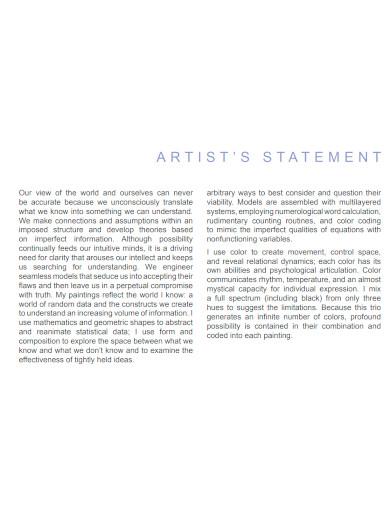 university student artist statement