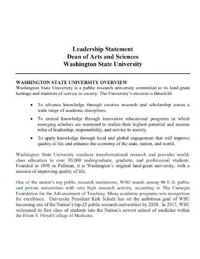 unviersity leadership statement