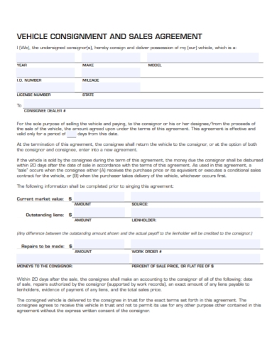 vehicle consignment purchase agreement form