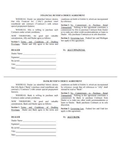 vehicle installment buyer choice agreement