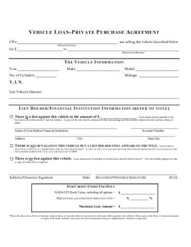 vehicle loan purchase agreement form