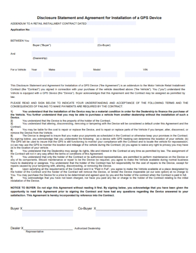 vehicle purchase installation disclosure agreement