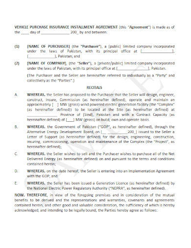vehicle purchase insurance installment agreement