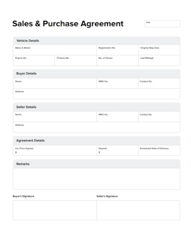 vehicle sales and purchase agreement form