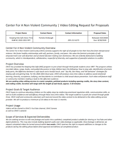 video editing production request for proposal