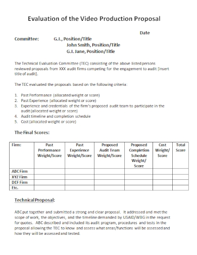 video production evaluation proposal