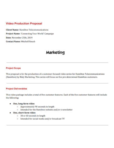 video production marketing proposal