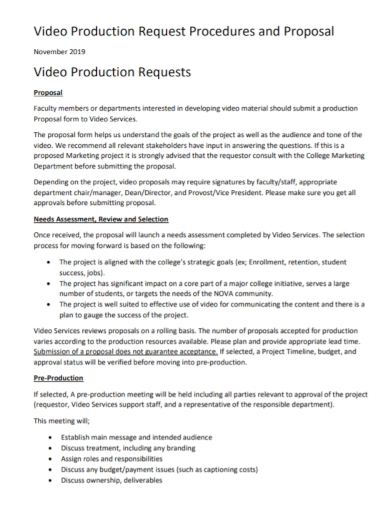video production request procedures proposal