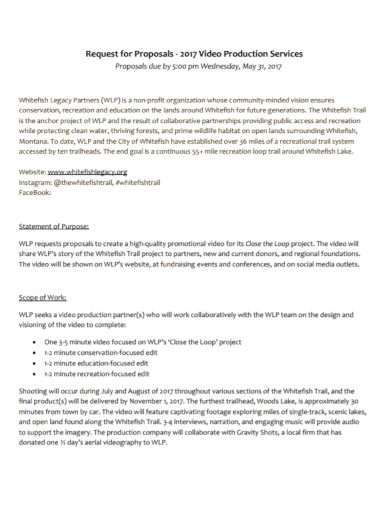 video production services request for proposal