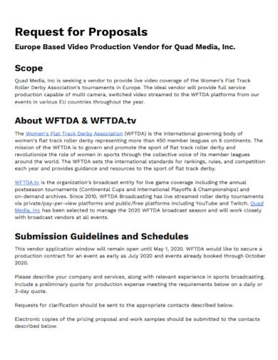 video production vendor request for proposal