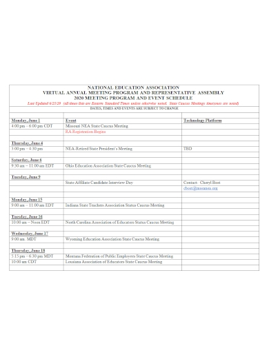 virtual event annual meeting program schedule