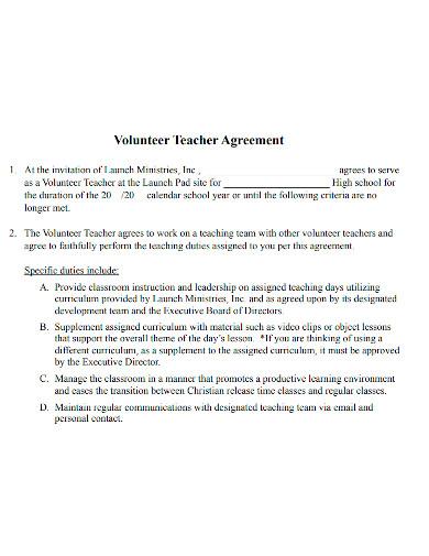 volunteer teacher agreement form