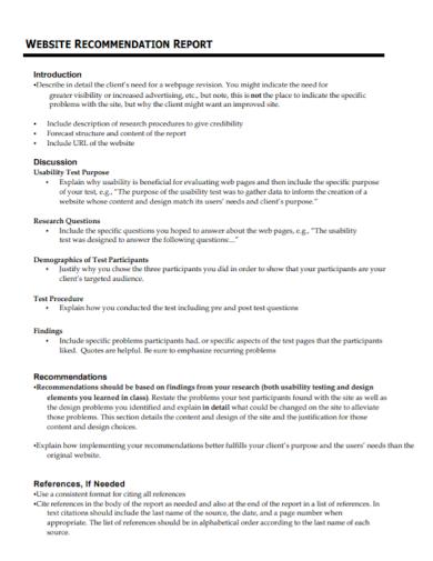 website recommendation report