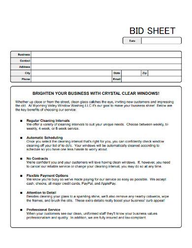 window cleaning bid sheet
