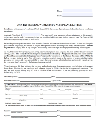 work study business proposal acceptance letter