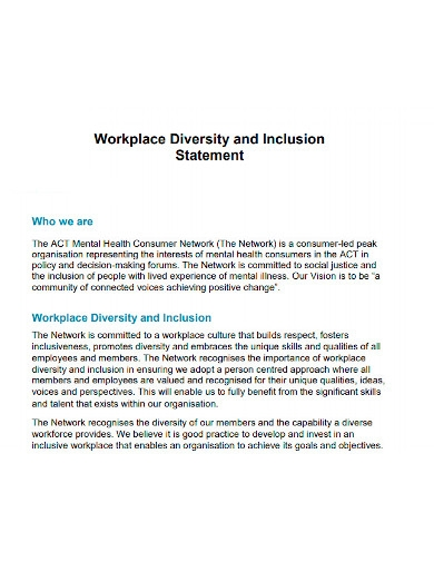 workplace diversity and inclusion statement