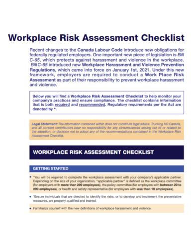 workplace hr risk assessment checklist