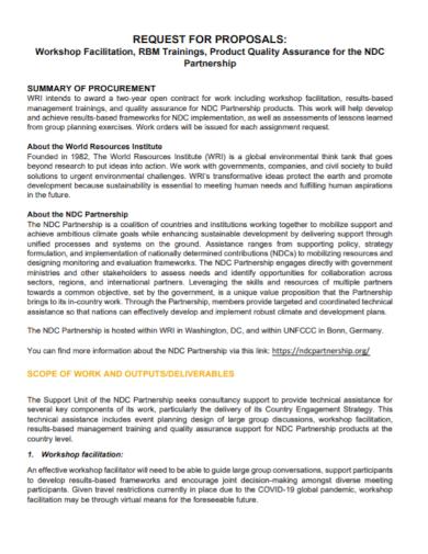 workshop partnership request for proposal