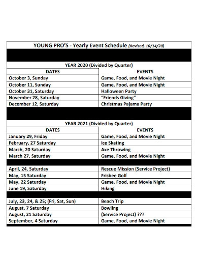 yearly party event schedule