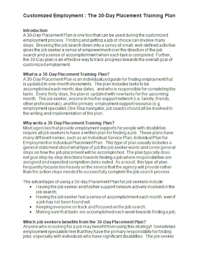 30 day placement training plan