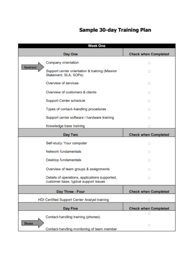 30 day training plan