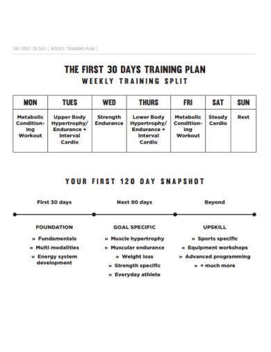 30 day weekly training plan