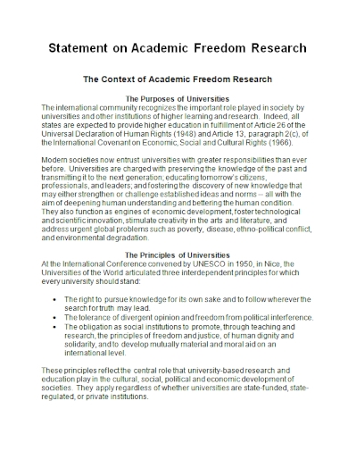 academic freedom research statement