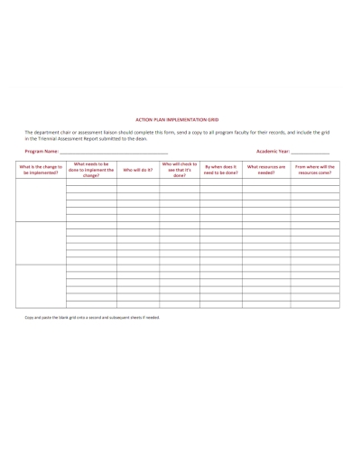 academic implementation action plan